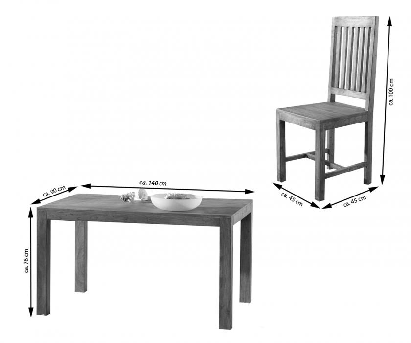 sam tischgruppe 7tlg 140 cm timber 6630 akazie massiv tabak. Black Bedroom Furniture Sets. Home Design Ideas