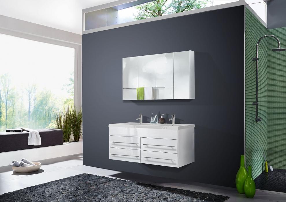 sam badm bel set 2tlg doppelwaschtisch 120cm hochglanz wei dublin. Black Bedroom Furniture Sets. Home Design Ideas