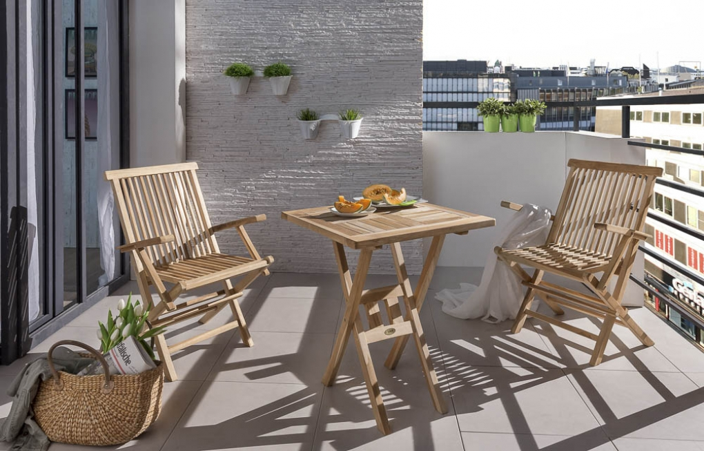 Sam Teak Balkonmobel Set Tisch 70 X 70 Cm 2 Armlehnstuhle Sunset