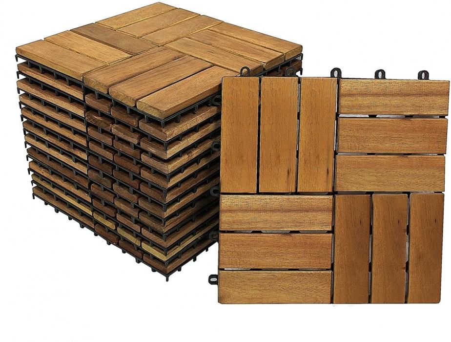SAM® Holzfliesen Set 11 Stück = 1 m ² Akazie Modell 05  Auf Lager !