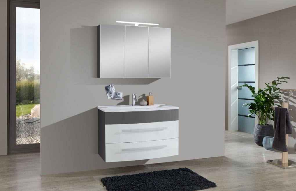 Sam 2tlg badezimmer set hochglanz wei grau 100 cm genf - Badezimmer weiay grau ...