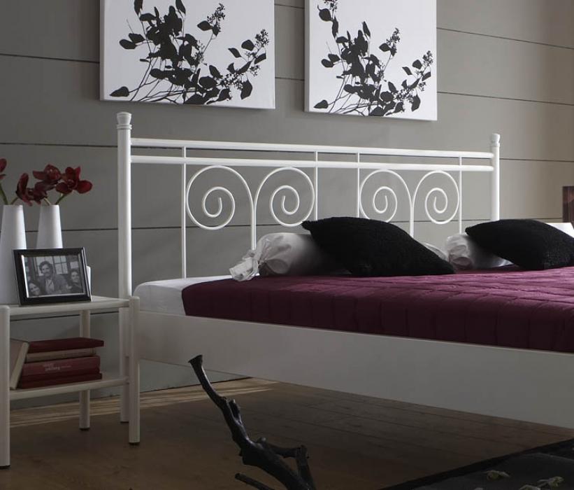 sam metallbett wei 140 x 200 cm doppelbett kos. Black Bedroom Furniture Sets. Home Design Ideas