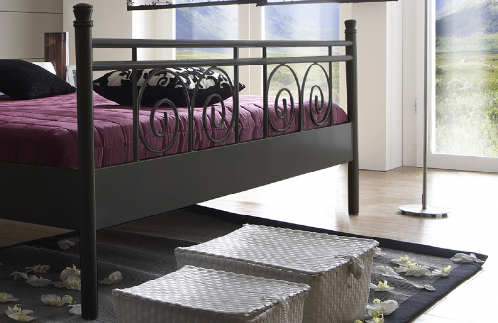 sam metallbett schwarz 140 x 200 cm rhodos g nstig. Black Bedroom Furniture Sets. Home Design Ideas