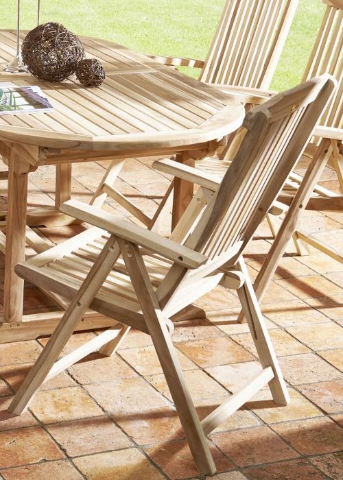 Sam Gartenmöbel Set 7tlg Tisch Holz Oval 180 Cm 6 Hochlehner Teak