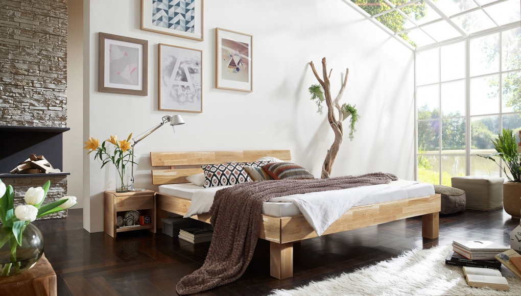 holzbett 180x200 cm g nstig kaufen holzbetten sam. Black Bedroom Furniture Sets. Home Design Ideas
