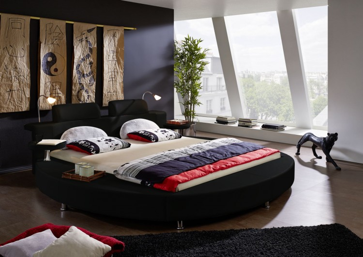 sam rundbett 180 x 200 cm beleuchtung schwarz classico. Black Bedroom Furniture Sets. Home Design Ideas
