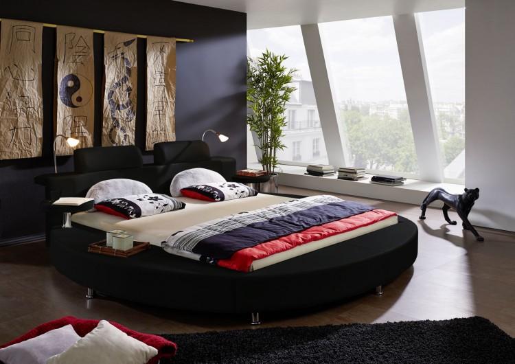 sam rundbett 180 x 200 cm beleuchtung schwarz classico. Black Bedroom Furniture Sets. Home Design Ideas
