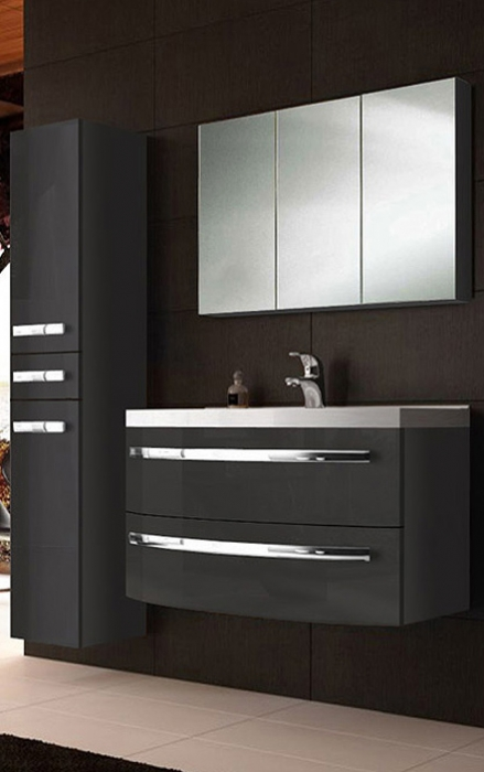 Badmöbel hochglanz  SAM® Badmöbel Hochglanz anthrazit 3tlg Dynamic 90 cm