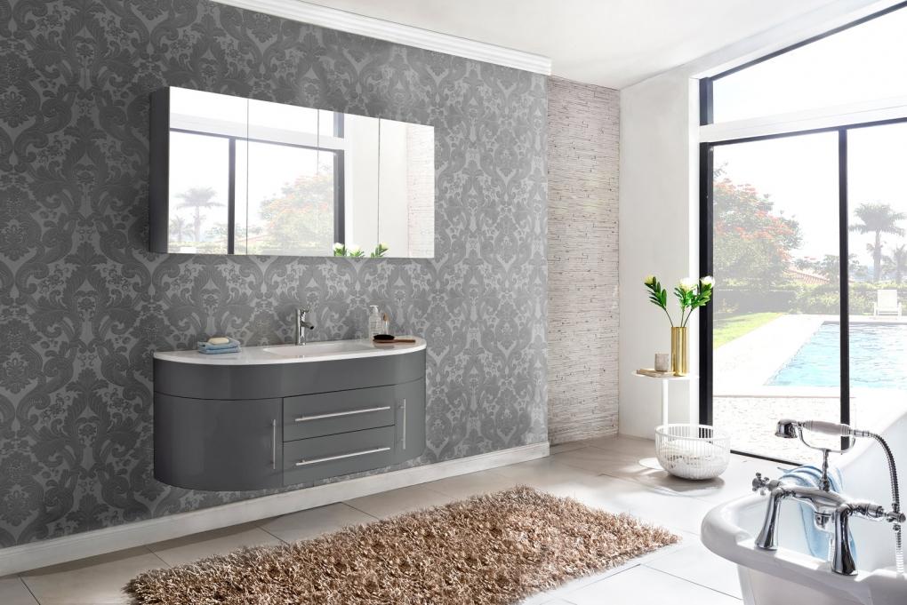 sam badm bel set 2tlg waschbecken 140 cm grau hochglanz dublin demn chst. Black Bedroom Furniture Sets. Home Design Ideas