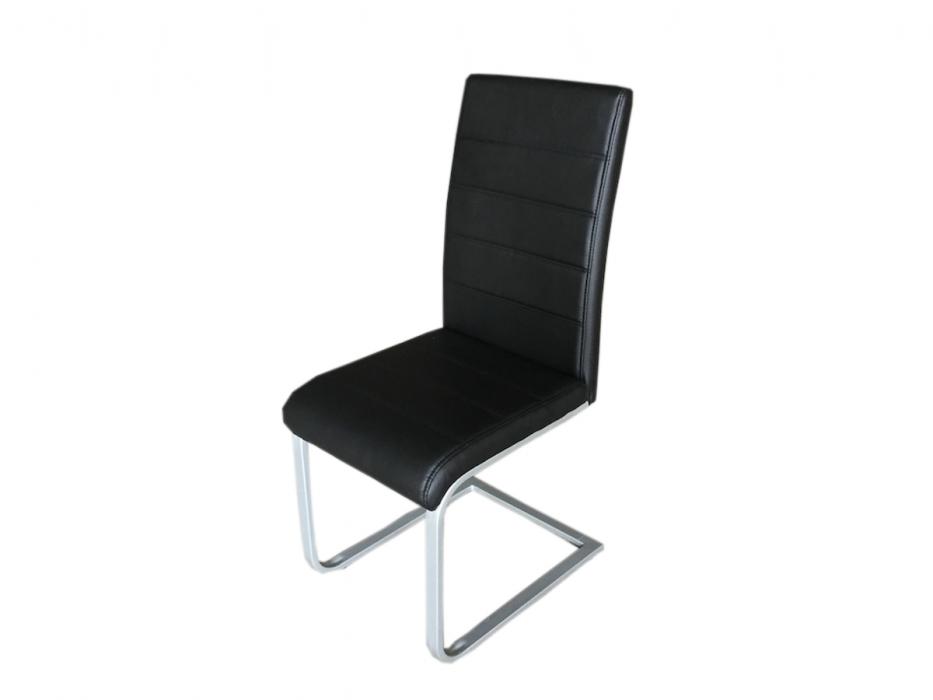 Sam freischwinger esszimmerstuhl in schwarz metallfarbene for Design stuhl freischwinger piet 30