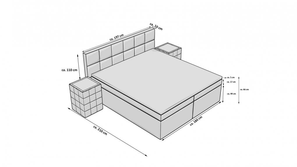 sam boxspringbett hotelbett 180 x 200 cm stoff grau sassari. Black Bedroom Furniture Sets. Home Design Ideas