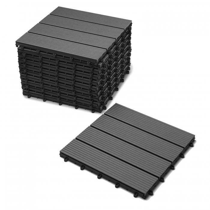 sam terrassenfliesen balkonfliesen wpc 11st ck 1 m grau. Black Bedroom Furniture Sets. Home Design Ideas