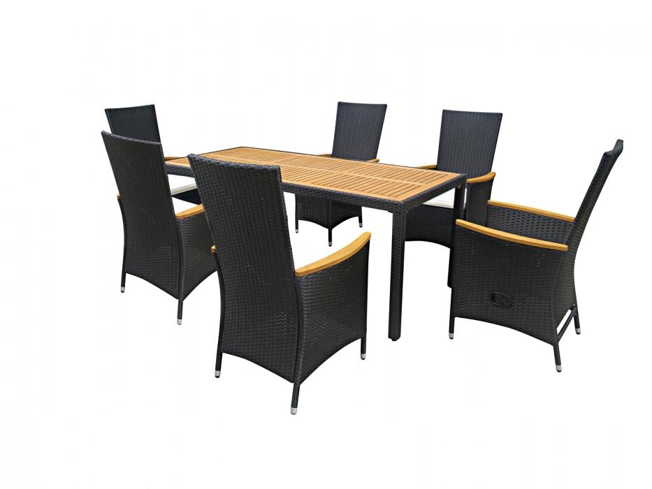 sam gartenm bel set 13tlg polyrattan aluminium akazie fsc finn. Black Bedroom Furniture Sets. Home Design Ideas