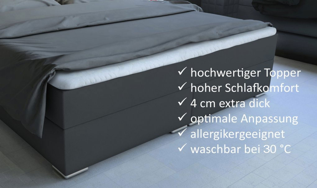 SAM® Boxspringbett Hotelbett Stoff grau LED 180 x 200 cm Boston Auf Lager ! itemprop=
