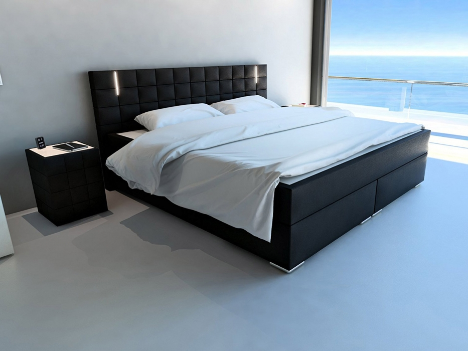 sam boxspringbett led beleuchtung 180x200 cm topper schwarz boston. Black Bedroom Furniture Sets. Home Design Ideas