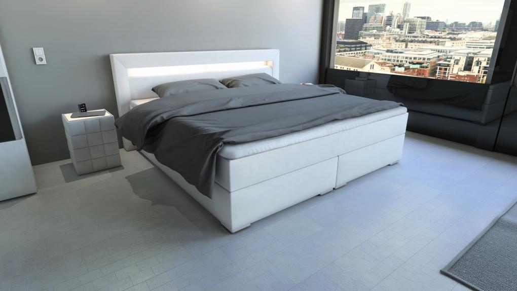 sam boxspringbett hotelbett beleuchtung 200 x 200 cm wei arizona demn chst. Black Bedroom Furniture Sets. Home Design Ideas