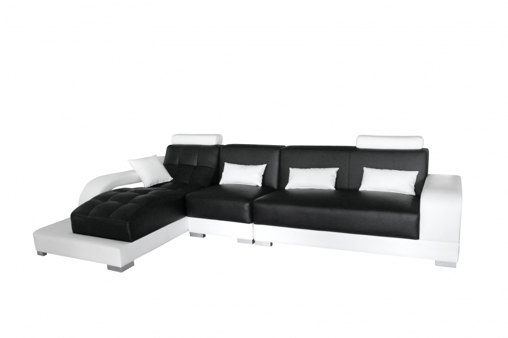 Sale sofa eckcouch 346 x 181 cm schwarz wei links xenia for Eckcouch sale