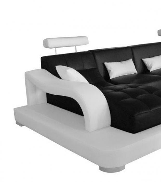 SALE Sofa Eckcouch 346 X 181 Cm Schwarz / Weiß Links Xenia