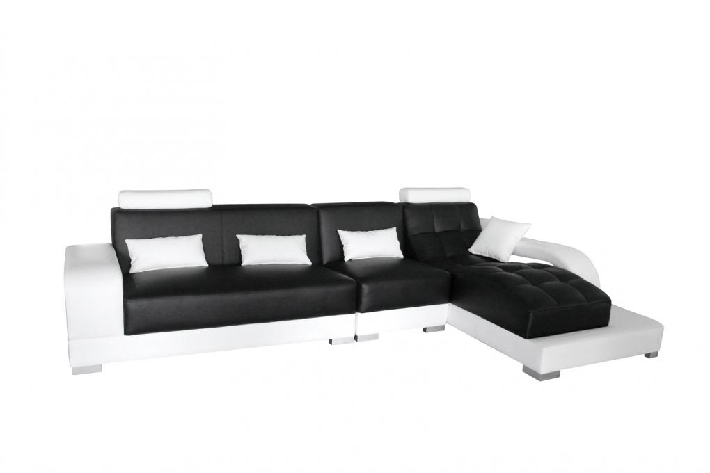 Sale sofa ecksofa 346 x 181 cm schwarz wei xenia rechts for Schlafsofa xenia
