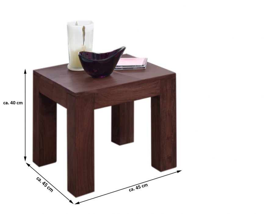 sale couchtisch akazie massiv tabak 45 x 40 x 45 cm timber 6613. Black Bedroom Furniture Sets. Home Design Ideas