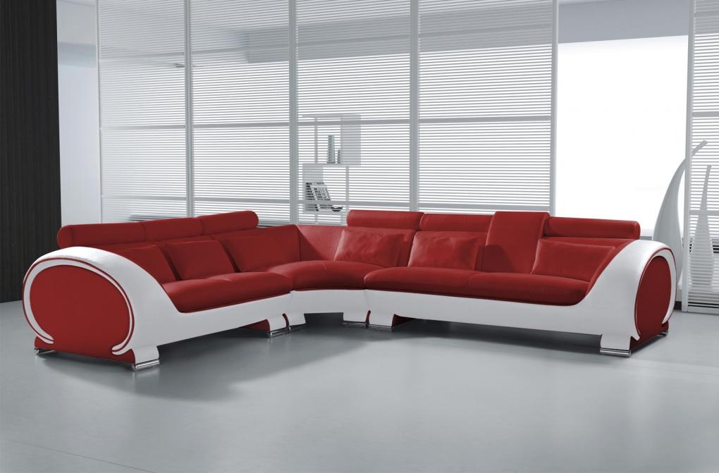 sale sofa wohnlandschaft rot wei couch 266 x 303 cm vigo