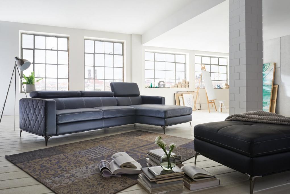 sale sofa ecksofa anthrazit ottomane rechts 300 x 132 cm dario. Black Bedroom Furniture Sets. Home Design Ideas