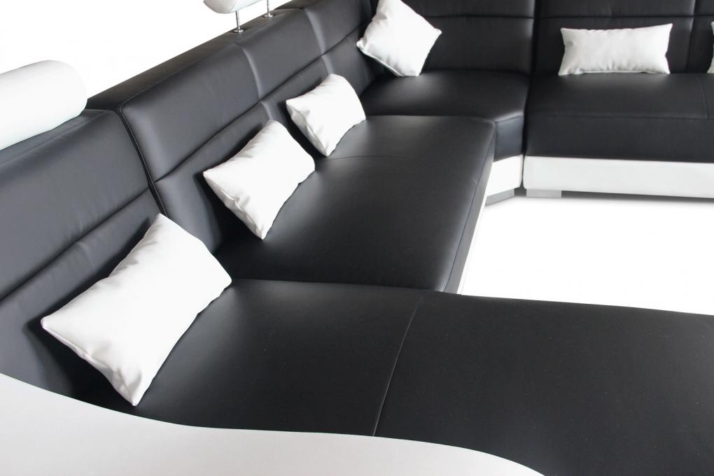 sale sofa wohnlandschaft 181 x 392 x 243 cm schwarz wei. Black Bedroom Furniture Sets. Home Design Ideas