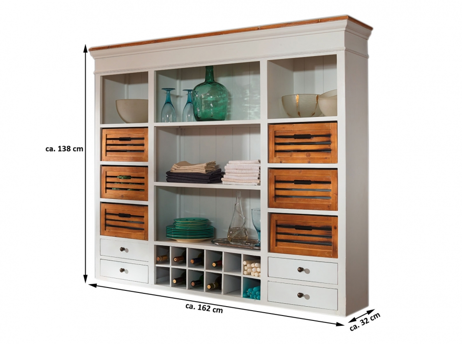 sale k chenbuffet aufsatz schrank wei paulowniaholz paris 409. Black Bedroom Furniture Sets. Home Design Ideas
