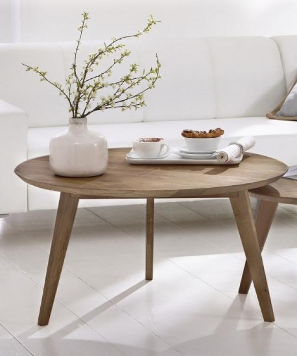 SALE Tisch Couchtisch Rund Massiv Wildeiche 90 Cm OLPE