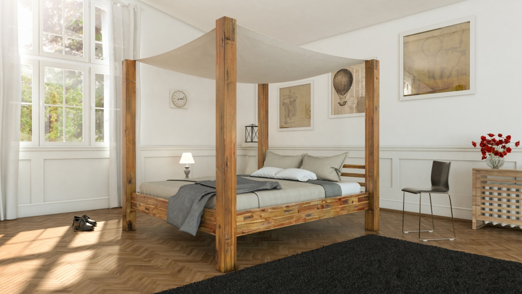 sale himmelbett 200x200 cm massivholzbett inkl himmel akazie bella. Black Bedroom Furniture Sets. Home Design Ideas