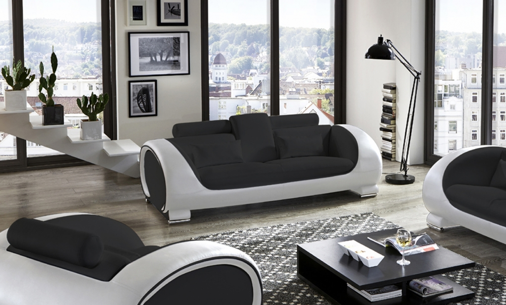 sam b ware 45 sofa relaxsofa couch in schwarz schwarz wei. Black Bedroom Furniture Sets. Home Design Ideas