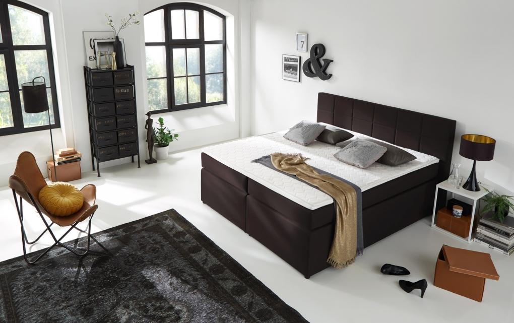 sam boxspringbett h3 stoffbezug 200x200 cm braun sassari. Black Bedroom Furniture Sets. Home Design Ideas