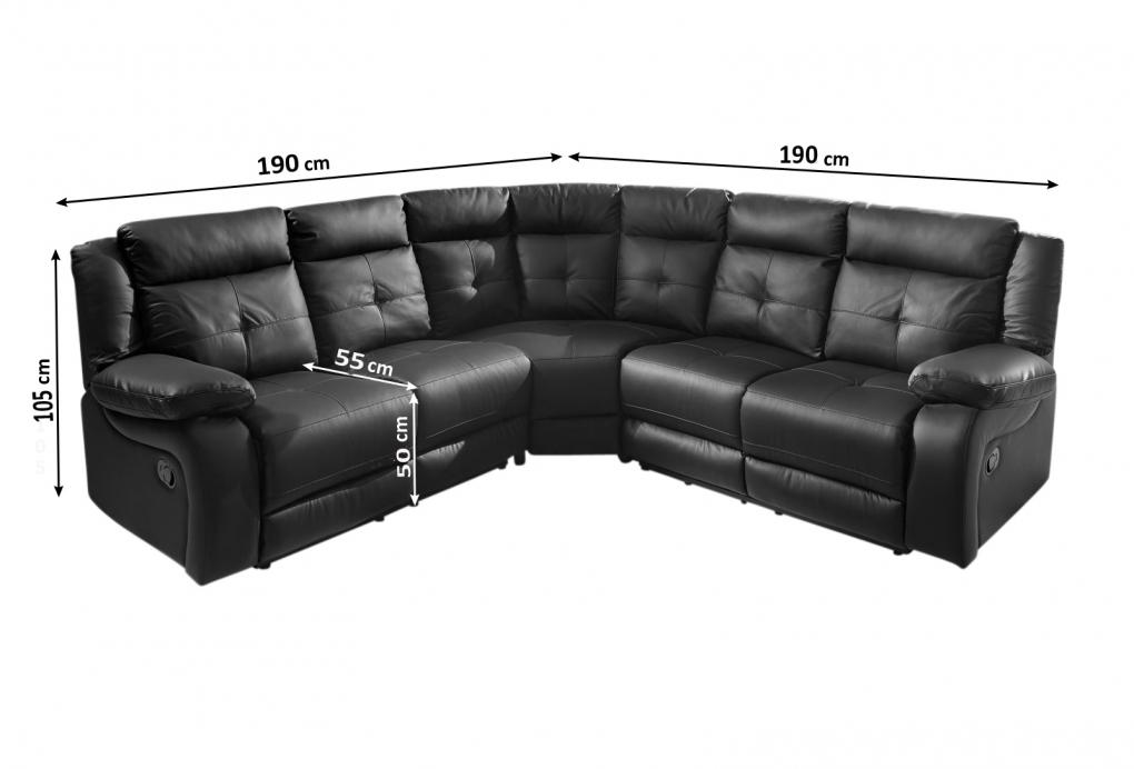 sale ecksofa mit relaxfunktion schwarz 190x190 cm alessio. Black Bedroom Furniture Sets. Home Design Ideas