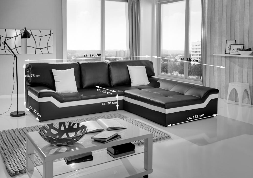 sale ecksofa wohnlandschaft 270 x 220 cm schwarz wei sofa mistico. Black Bedroom Furniture Sets. Home Design Ideas