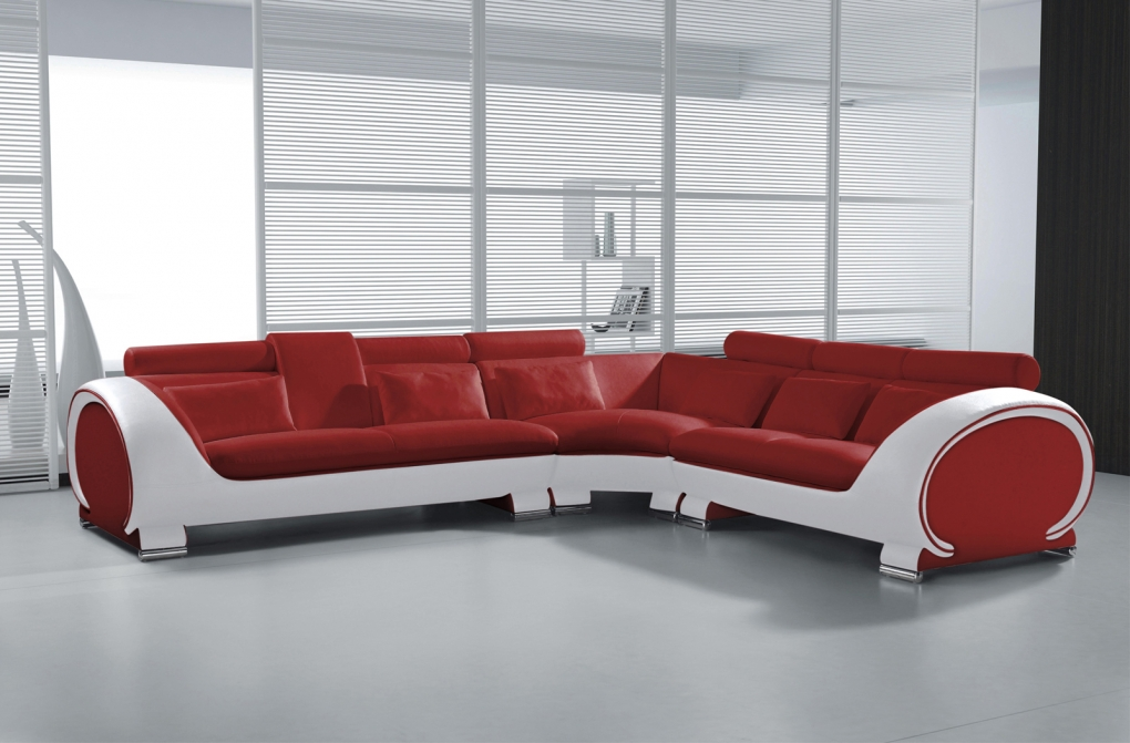 sale ecksofa wohnlandschaft 303 x 266 cm rot wei vigo combi 4. Black Bedroom Furniture Sets. Home Design Ideas