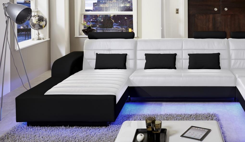 sale wohnlandschaft inkl led beleuchtung wei schwarz new. Black Bedroom Furniture Sets. Home Design Ideas