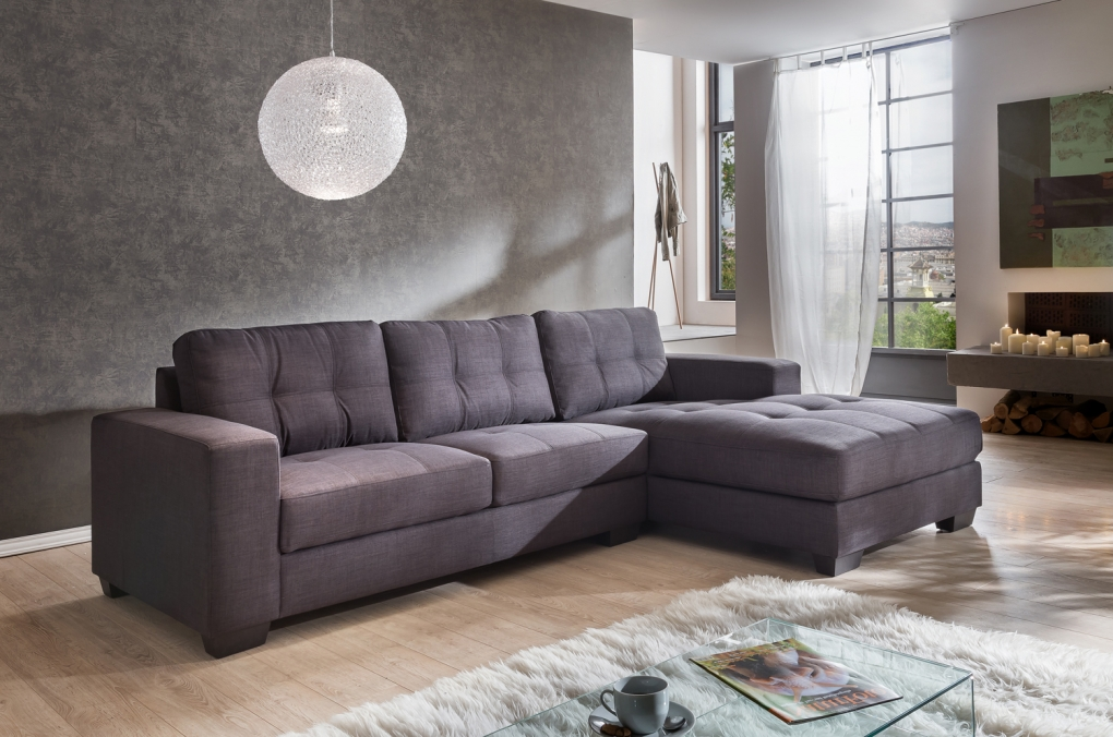 sale couch ecksofa polsterecke 270 x 165 cm grau stoff rechts aviano. Black Bedroom Furniture Sets. Home Design Ideas