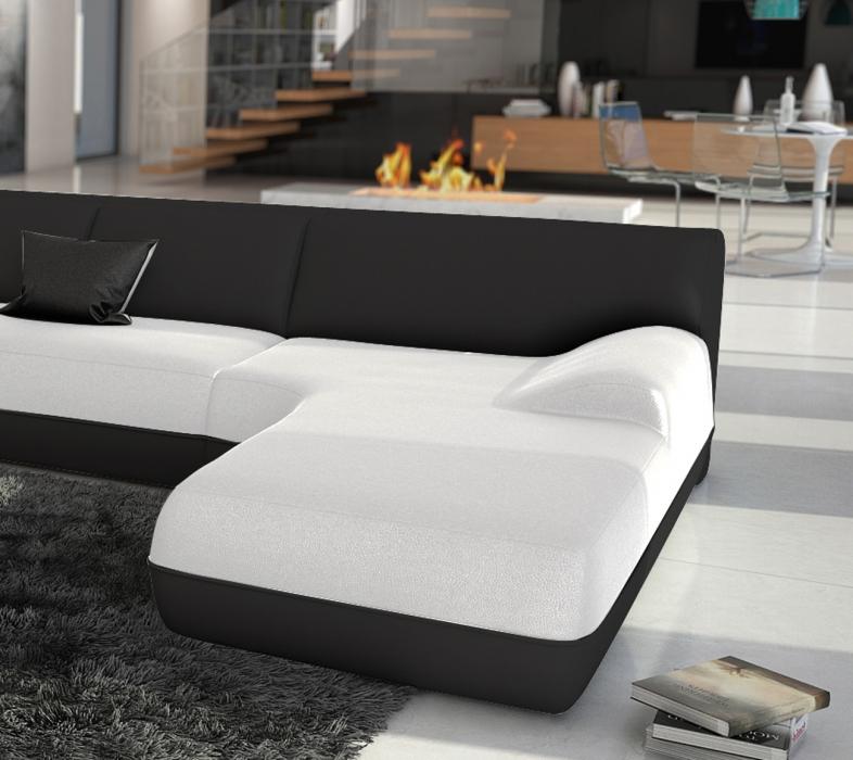 sale wohnlandschaft wei schwarz 385 x 74 x 220 cm impulso. Black Bedroom Furniture Sets. Home Design Ideas