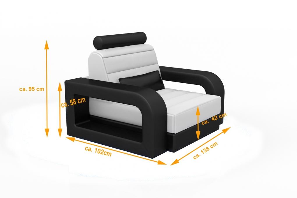 sale wohnzimmersessel relaxsessel 138 x 91 cm wei schwarz new york. Black Bedroom Furniture Sets. Home Design Ideas