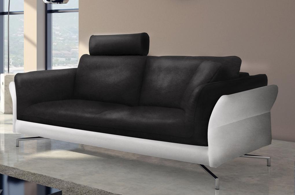 sale design sofa garnitur 2 3 sitzer schwarz wei vivano. Black Bedroom Furniture Sets. Home Design Ideas