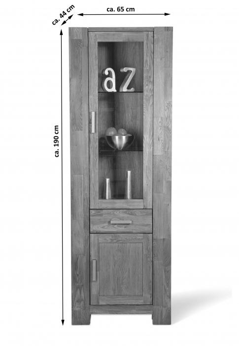 Sale vitrine schrank 190 cm wildeiche massivholz sit zeus for Ecksofa zeus