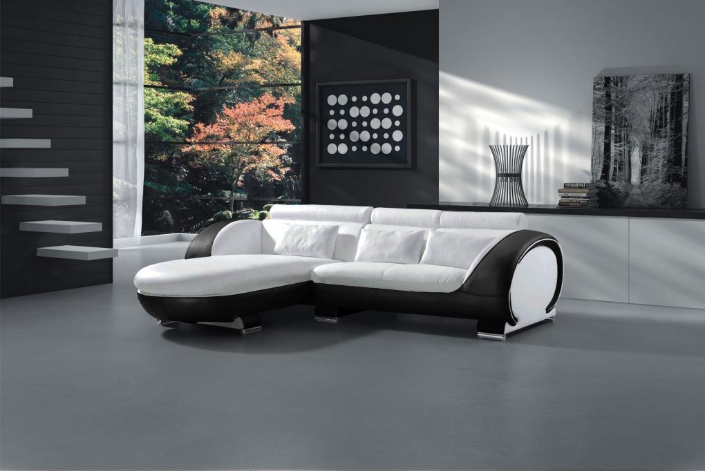 sale couch ecksofa polsterecke 181 x 242 cm wei schwarz vigo combi. Black Bedroom Furniture Sets. Home Design Ideas