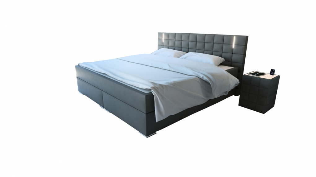 sam b ware 111 boxspringbett led doppelbett 180 x 200 cm grau. Black Bedroom Furniture Sets. Home Design Ideas