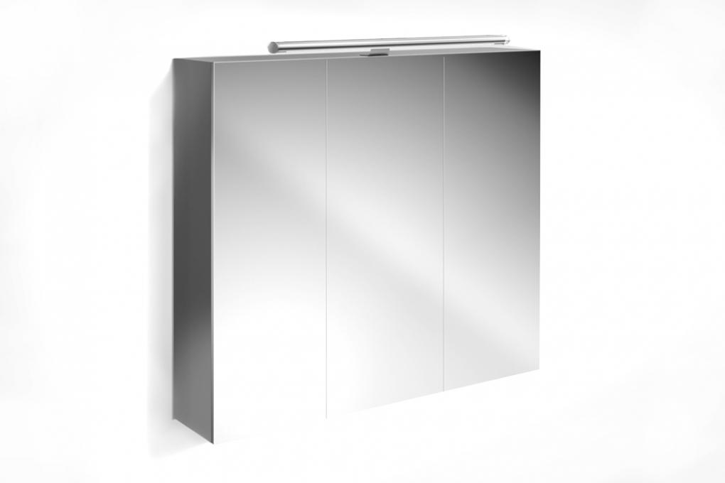 Sam badezimmer spiegelschrank 90 cm hochglanz grau verena for Spiegelschrank grau