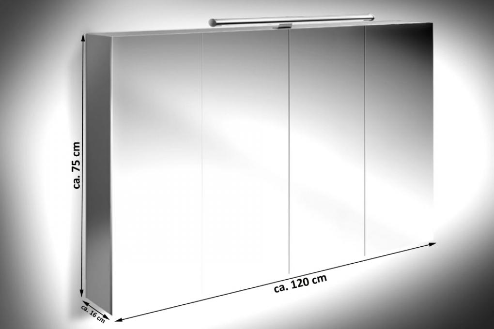 SAM® Badezimmer Spiegelschrank 120 cm Hochglanz grau VERENA