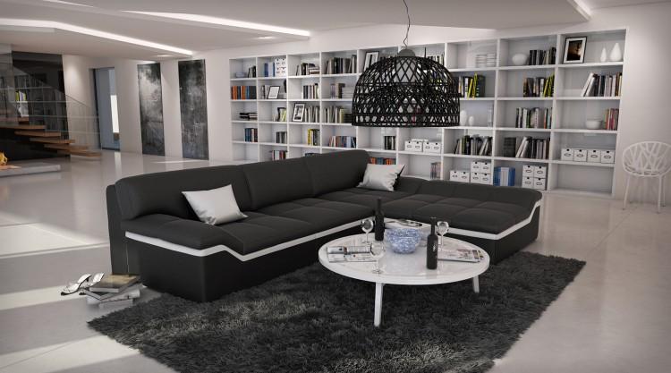 sam ecksofa schwarz stripe wei sofa mistico 270 x 220 cm bestellware. Black Bedroom Furniture Sets. Home Design Ideas