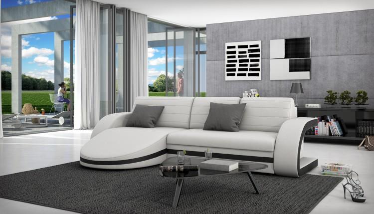 sam ecksofa wei schwarz schlafsofa geronia 145 x 286 cm auf lager. Black Bedroom Furniture Sets. Home Design Ideas