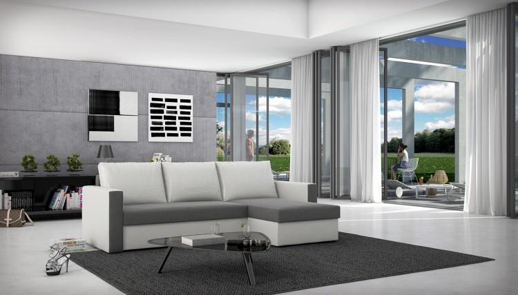 sam schlafsofa grau wei ecksofa besiana 236 x 145 cm auf lager. Black Bedroom Furniture Sets. Home Design Ideas
