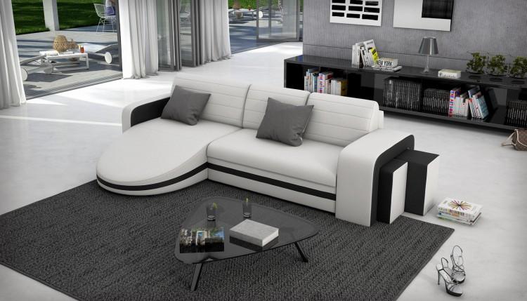 sam ecksofa wei schwarz schlafsofa guayana 145 x 276 cm auf lager. Black Bedroom Furniture Sets. Home Design Ideas