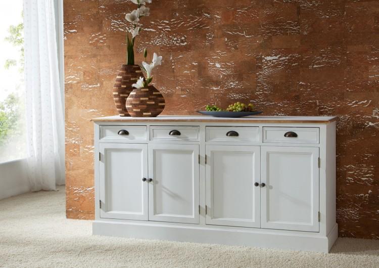 sam sideboard ii 160 cm wei lackiertes paulowniaholz paris 408 auf lager. Black Bedroom Furniture Sets. Home Design Ideas